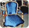 Italian guilt wood chairs with shaped upholstered back. Re-upholstered for a museum.